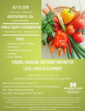 July 31: Food, Financing & Grant Writing for Local Foods Development in Hattiesburg