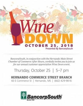 Oct. 25: Wine Down, in Hernando