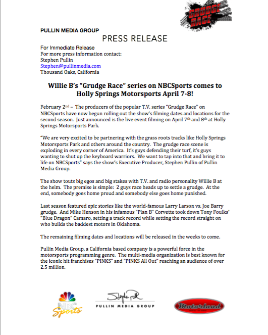 """Apr. 7: """"Grudge Race"""" TV show filming in Holly Springs"""