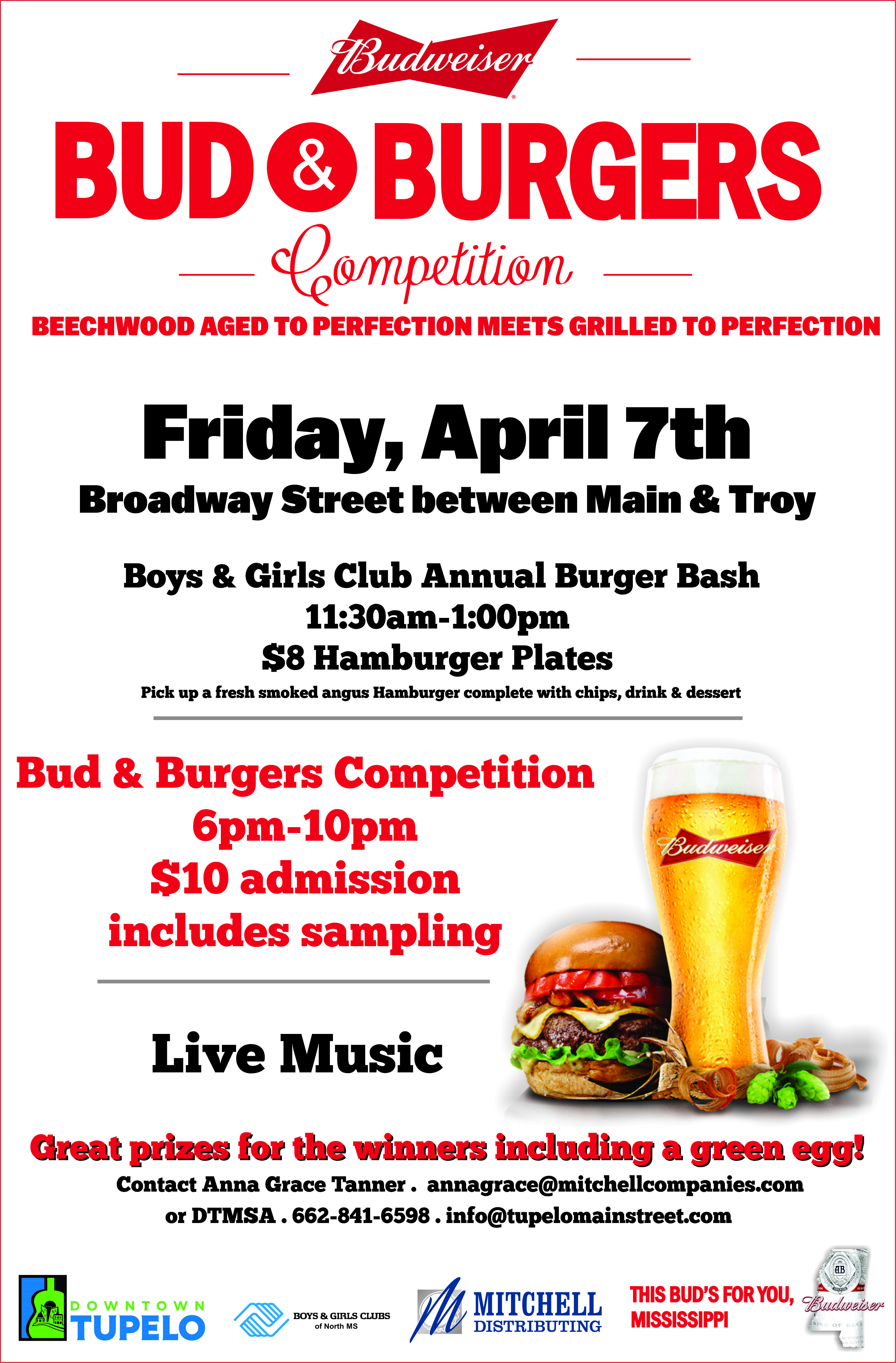 Apr. 7: Bud and Burgers in Tupelo
